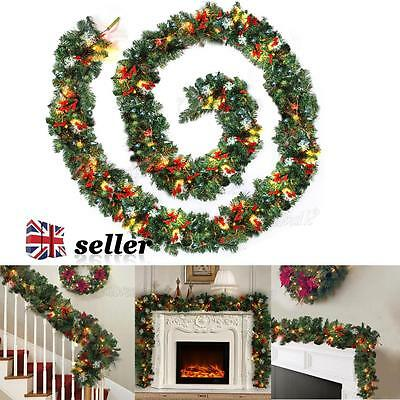 2.7m Pre Lit Christmas Garland With Lights Led Fireplace Mantel Decorations 9ft