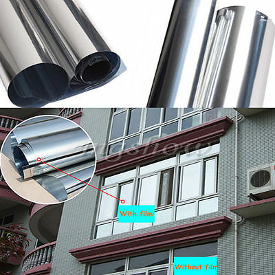 Silver Reflective One Way Mirror Window Film Mirrored Privacy Glass Solar Tint