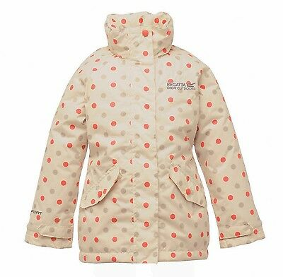 Regatta Peppie Girls Waterproof Padded Insulated Hooded Jacket Cream 3-4