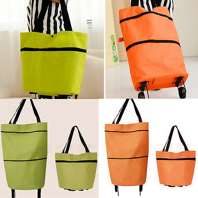 Large Push Tote Oxford Foldable Shopping Bag On Wheels Grocery Trolley luggage