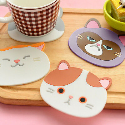 Cute Cat Pattern Silicone Insulation Placemat Coaster Cup Bowl Mat Decor Mystic