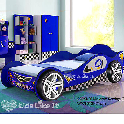NEW KIDS BOYS 3D Wheel RACING CAR Single BED Childrens BEDROOM Furniture BLUE