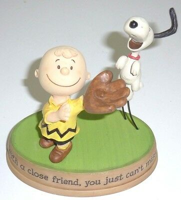 Hallmark Peanuts Gallery Snoopy Charlie Figurine Statue WITH A CLOSE FRIEND...