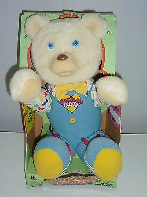 """1986 Marchon Teddy Animated Talking Bear w/ Box Talk-To-Me Blue Outfit Eyes 17"""""""