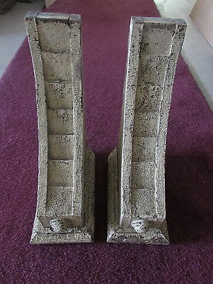 Exterior Pair Wood Stepped Corbels 1880's Architectural Salvage Shabby Bracketts