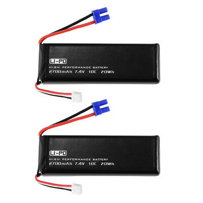 1x/2x 7.4V 2700mAh 10C Round Plug Lipo Battery for Hubsan H501S Drone Quadcopter