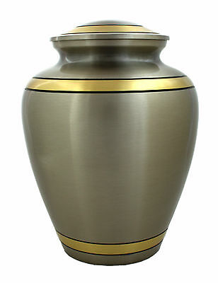 Adult Cremation Urns for Ashes, Funeral memorial urn large grey with golden line