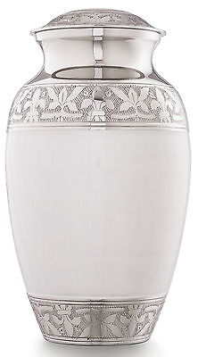 Cremation Urns for Ashes, Funeral Memorial Large urns White Embossed Design