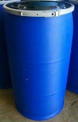 35 Gallon Plastic Barrel Food Grade HDPE Blue Open Top Drum With Resealable Lid