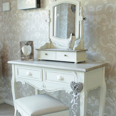 Cream Wooden Dressing Table Set Mirror Stool Shabby French Chic Vanity Bedroom