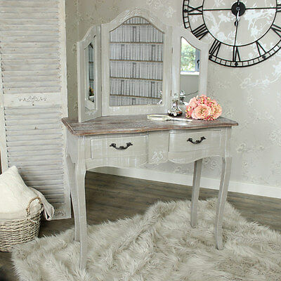 Grey Wooden Dressing Table Set Mirror Shabby Vintage Chic Bedroom Make Up Desk