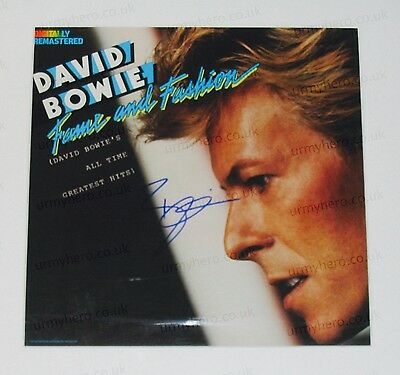 DAVID BOWIE - PERSONALLY SIGNED Professionally Mounted LP cover - FAME & FASHION