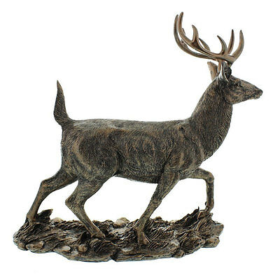 "NEW Vintage Bronze Colour Large 12"" Stag Figurine Statue Gift Ornament Sculpture"
