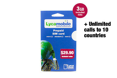 LycaMobile Australia Global MyPlan SIM Card Unlimited Calls and Text + 6GB Data