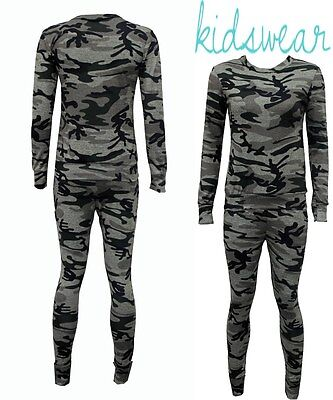 Childrens Girls Army 2Pc Lounge wear New Camouflage Tracksuit Jogger set Kids