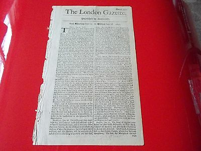 Very Rare ORIGINAL Authentic THE LONDON GAZETTE 1697  no. 3300  318 years old