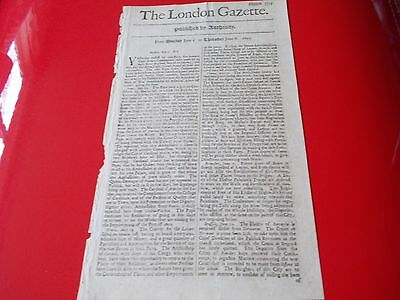 Very Rare ORIGINAL Authentic THE LONDON GAZETTE  1699  no. 3503   316 years old.