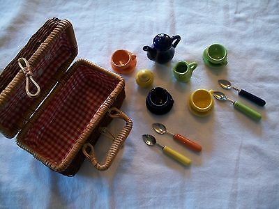 Childrens Small Porcelain Picnic Tea Set in Wicker basket.