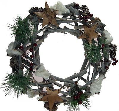 Christmas Artificial Shabby Chic Natural TWIG STAR 30cm Wreath Door Decoration