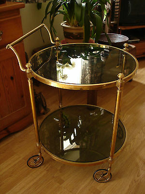 Rare Vintage Solid Brass Cocktail Drinks Trolley Round Smoked Glass Antique