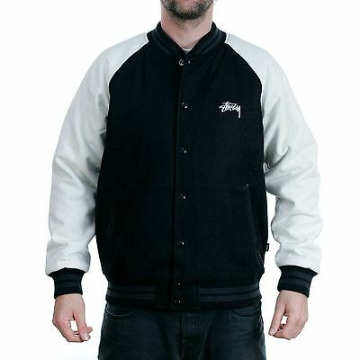 Stussy 2 Tone Wool Varsity Jacket Black Coat Official Stockist New Free Delivery