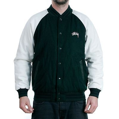Stussy Two Tone Wool Varsity Jacket Forest Green Coat New BNWT Free Delivery