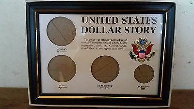 U.S. DOLLAR STORY 4-COIN SET FRAME 5x7 FOR DISPLAY NO COINS NEW OLD STOCK