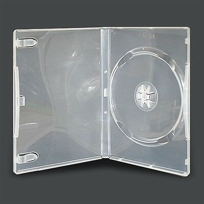 100 x 14MM SINGLE DVD CLEAR CASE CASES SPINE CLEAR FRONT SLEEVE COVER