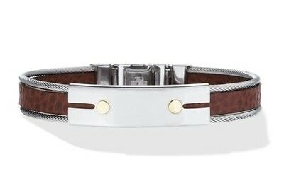 Men's Leather Bracelet with Stainless Steel and 18k Gold. Delivery is Free