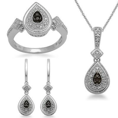 Sterling Silver Black and White Diamond Ring, Pendant Necklace and Earrings Box