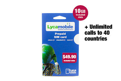 LycaMobile Australia Large MyPlan SIM Card Unlimited Calls and Text + 9GB Data