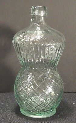 EB CO Whiskey Bitters Bottle Clear Blue Pineapple Lattice England 1886 Antique