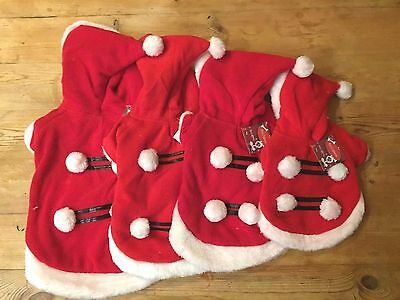 Dog Santa Costume Outfit Suit Coat Father Christmas Small Pet Puppy