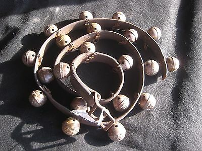 Vintage Horse Sleigh Bells, Amish Brass With Leather, Sold By Each  #chi-028
