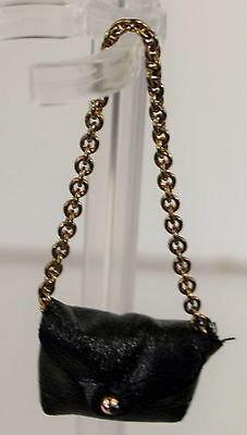 Genuine Barbie Doll Accessories, Black Purse with Chain Strap