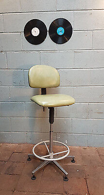 Vintage Machinist Industrial High Architect Stool Green FREE MANCHESTER DELIVERY