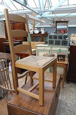 Set of 4 Oak Rush seated Ladder back chairs