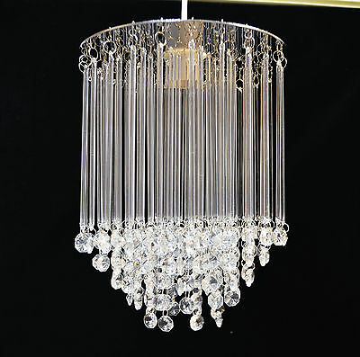 Vintage Style Glass And Chrome Pendant Light Shade