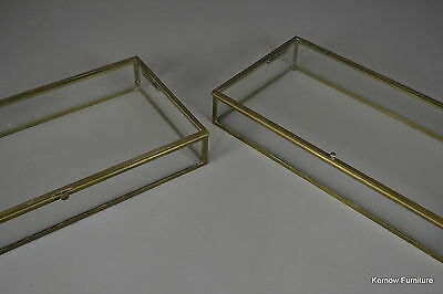 Pair Brass Hinged Lid Museum Display Cabinets