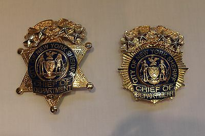 Obsolete New York Sheriff Chief Of Department 4 Star Hat & Breast Badges