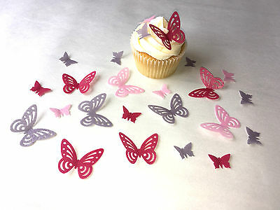 48 Edible Pre cut Wafer Paper Butterflies 2 sizes -Cake toppers - Choose Colours
