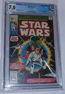1977 Vintage Star Wars #1 Issue Comic 7/77 RARE CGC 7.0 Marvel White Pages