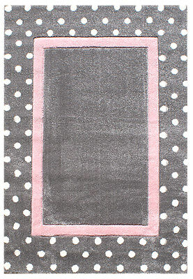 Kinderteppich Happy Rugs POINT silbergrau/rosa 120x180cm