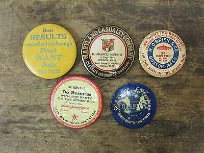 Lot of 5 Vintage Antique Celluloid Pocket Advertising Mirrors L@@K!!!