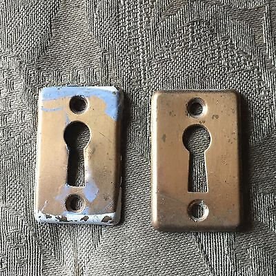 Lot of 2 Antique YALE Brass Key Hole Covers Door Hardware