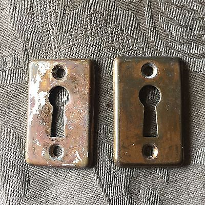 Lot of 2 Antique YALE Brass Key Hole Covers Door Hardware #2