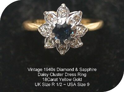 Vintage Retro 1940s 18Carat Yellow Gold Sapphire Diamond Daisy Cluster Ring UK R