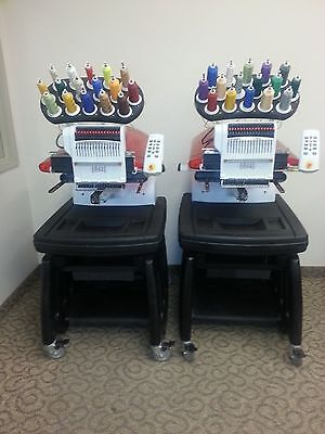 Melco Amaya 16 Color Industrial Embroidery Machines 2 Head