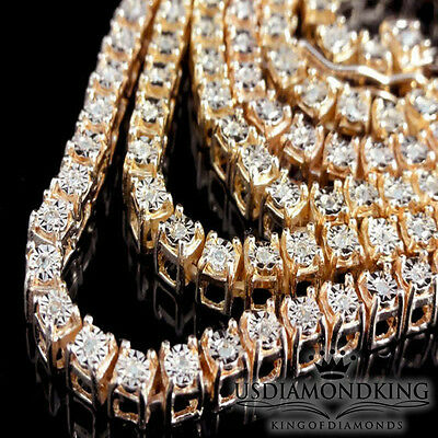 Men Ladies 1 Row Rose Pink Gold Finish Genuine Diamond Tennis Chain Necklace 26""