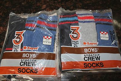 2 Packages VINTAGE New Zayre 3-Pack BOYS stretch Crew Socks sz 9-11